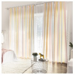 Lace Semi Sheer Multicolor Striped Grommet Curtain Panel