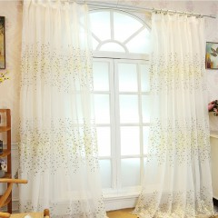 Lace Valance Golden Floral White Sheer Curtains