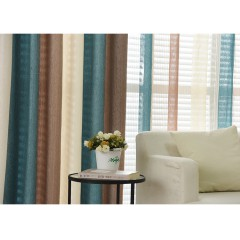 Room Darkening Curtains Multicolor Vertical  Striped Curtains and Drapes Set with Sheer