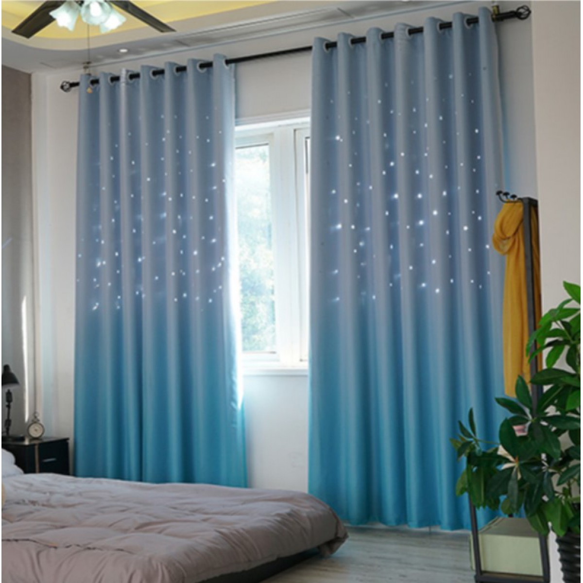 Custom Width and Length Bedroom Grommet Curtains  Mix & Match Star Blackout Curtain and Drapes