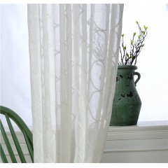 Window Semi Sheer Curtains Wavy Lines Embroidered White linen Curtains