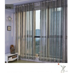 Lace White Striped Sheer Valance Drapes Curtains