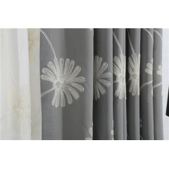 White Flower Embroidered Country Linen Drapes Curtains