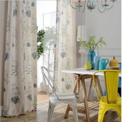 Country Style Blackout Grommet Curtains White Floral Printed Curtains
