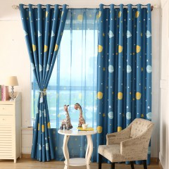 Kids Room curtains Star Blue Galaxy Print Curtain and Sheer Set