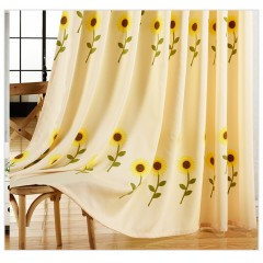 Country Style Window Valances Shades with Sunflower Print Sheer Curtain and Drapes Set