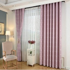 Pink Heart Printed Linen Fabric Curtain and Drapes Set for Kids Room