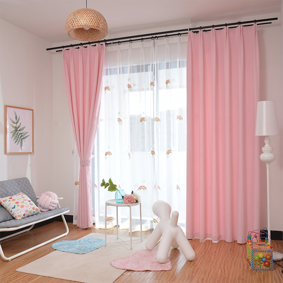Pink Curtains white Rainbow Sheers Curtain and Drapes Set