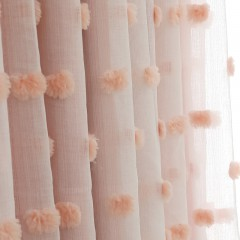 Roman Shades Lace Girls Living Room Drapes Mix and Match Pom Pom Pink Sheer Curtains