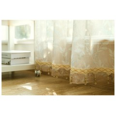 Country Style Curtains Yellow/ Blue Floral Sheer Grommet Curtains and Drapery Set