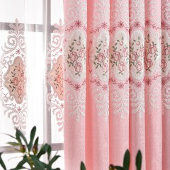 Pink Blackout Grommet Curtains Embroidered Curtains and Drapes Set for Kid Room