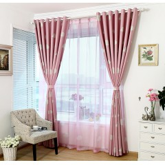 White Cloud Blue Burlap Curtains Room Darkening Curtains & Drape Set
