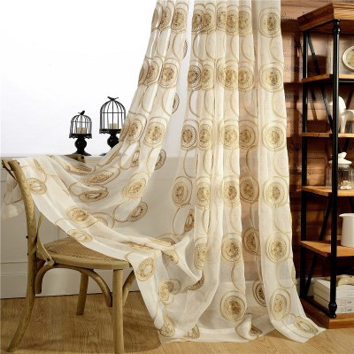 Custom Short Curtains Circle Embroidered Tulle Pinch Pleat Drapes with Drapery Fabric Sheer