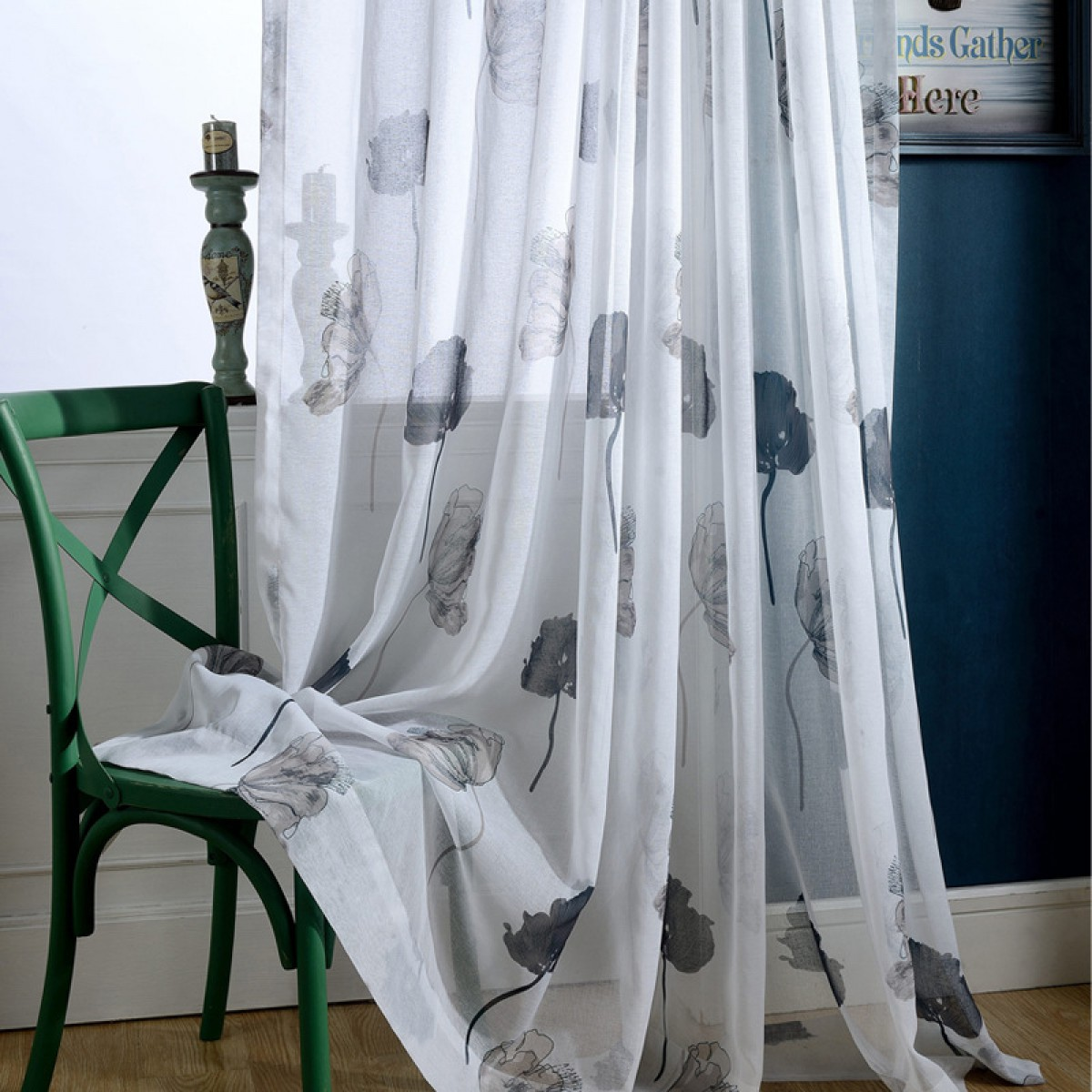 Lotus Patterned Ink Painting Floral Sheer Curtains and Drapes