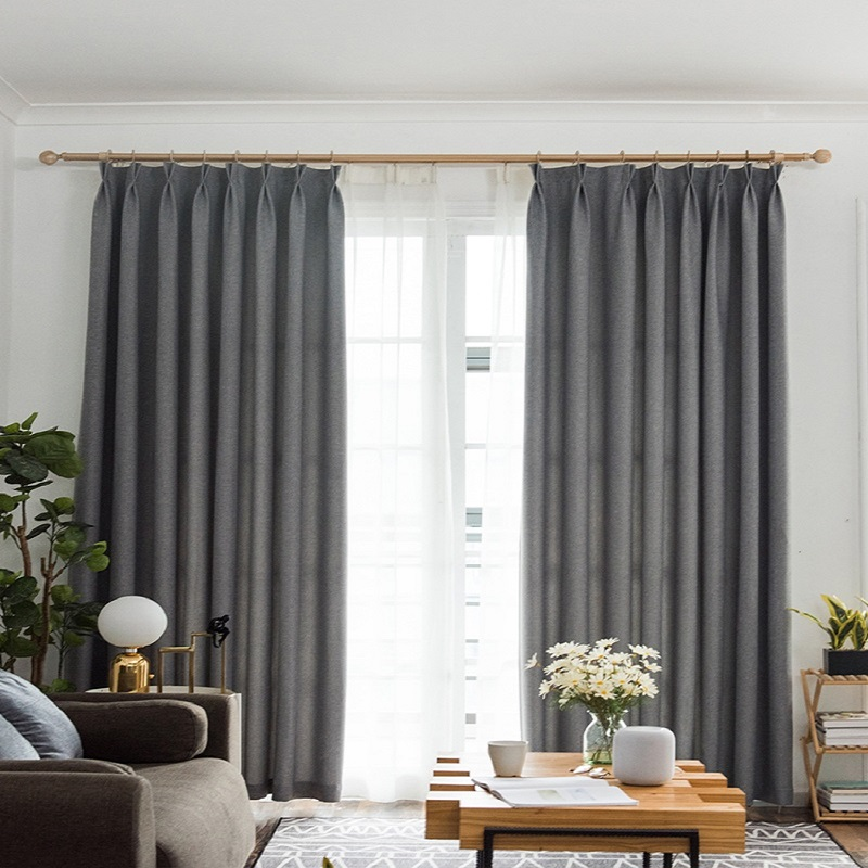Window Blinds and Shades Linen Solid Blackout Drapes