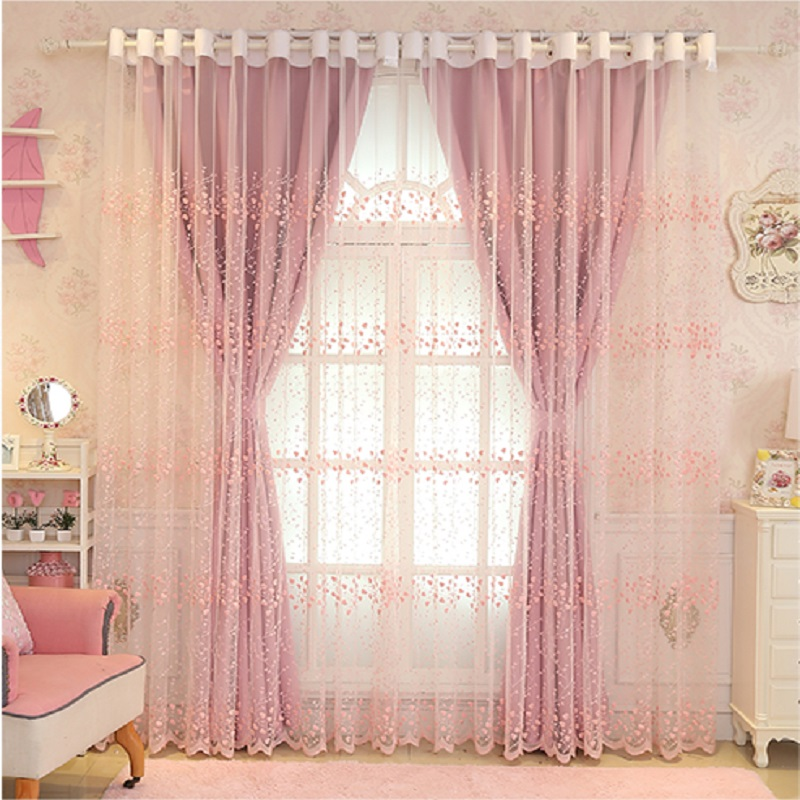 Room Darkening Curtains Mix and Match Blue/Gray/Baby Pink Curtain and Drapes Valance Set