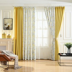 Room Darkening Yellow Gold Shades Floral  Color Block Curtains & Drapes Set