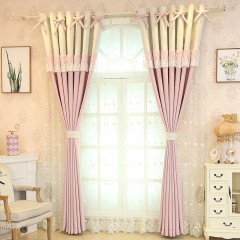 Pink and Lace Sheer Bowknot Blackout Shades Girls Bedroom Curtain and Drapes Set