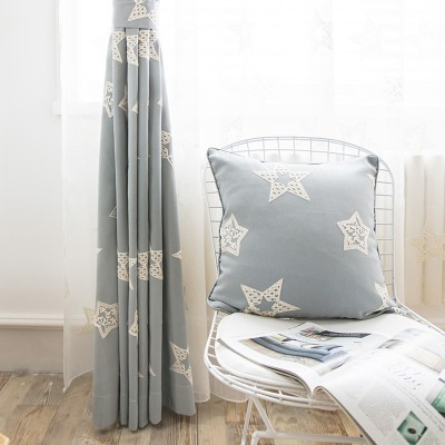 Blackout Curtains Sheer Blue Star Curtains and Drapes Set for Kids Room