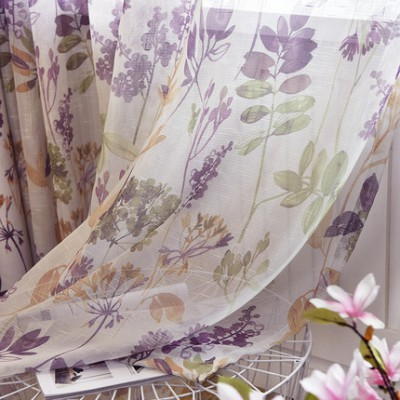 Custom Design Bedroom Blackout Curtains Treatments Purple Floral Curtain Sheer Set