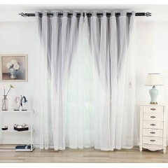 Living Room Mix and Match Light Grey Curtains and Drapes Sheer Set
