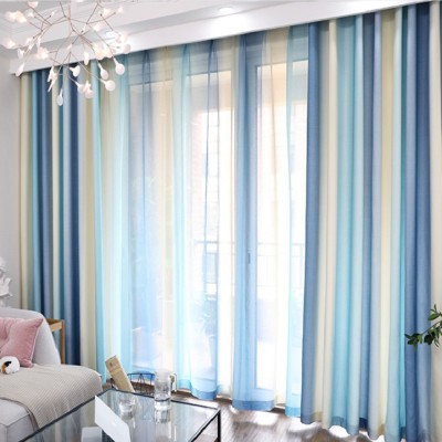 Custom Size Blue Lace Striped Colorful Curtain and Drapes Set with Sheer
