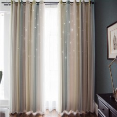 Custom Size Window Curtains Mix & Match Striped Hollowed Out Star Curtains and Drapes