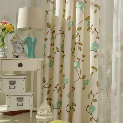 Cotton Blend  Floral Country Style Custom Blackout Curtains