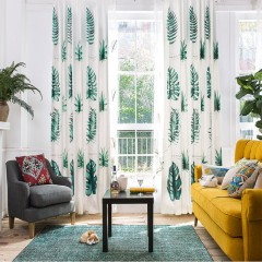 Linen Curtains Shades Lace Valance Tropical Green Leaf Curtain and Drapes Set