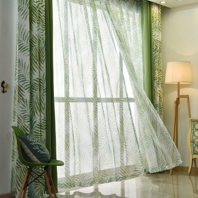 Blackout Curtains Lime  Green Leaf Pattern Curtain and sheers Set