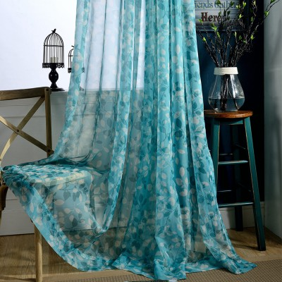 Window Valances Lace Floral Blue Sheer Curtains