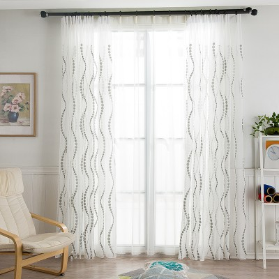 White Sheer Curtains Wave Embroidered Polka Dot Drapery Living Room Curtains