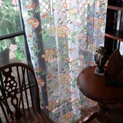 Blue  Floral Country Style Blackout Curtains & Drapes Set Burlap Curtains