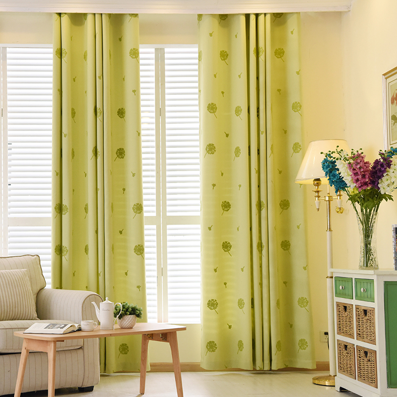 Living Room Curtains Pissenlit Embroidered Beige Green Purple