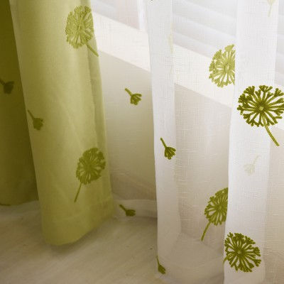 Living Room Curtains Pissenlit Embroidered Beige/ Green/Purple Curtains and Drapes