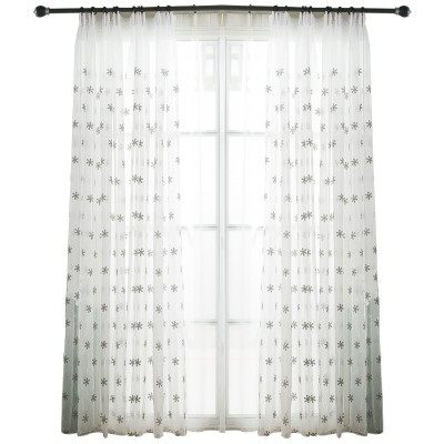 Custom White Sheer Curtains Embroidered Snow Flower Tulle Drapes