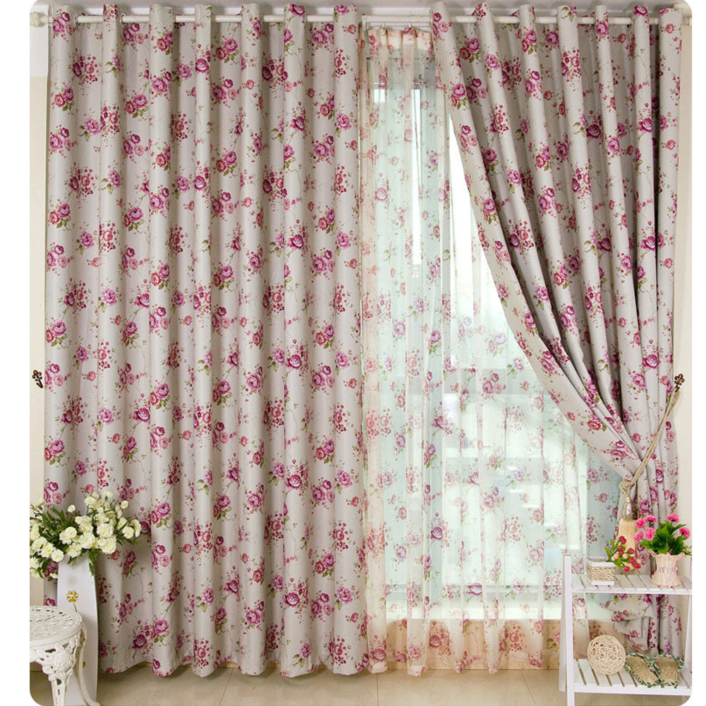 Floral Print Blackout Curtain for Bedroom Thermal Insulated Ultimate Soft Textured Grommet Window Panel for Living Room