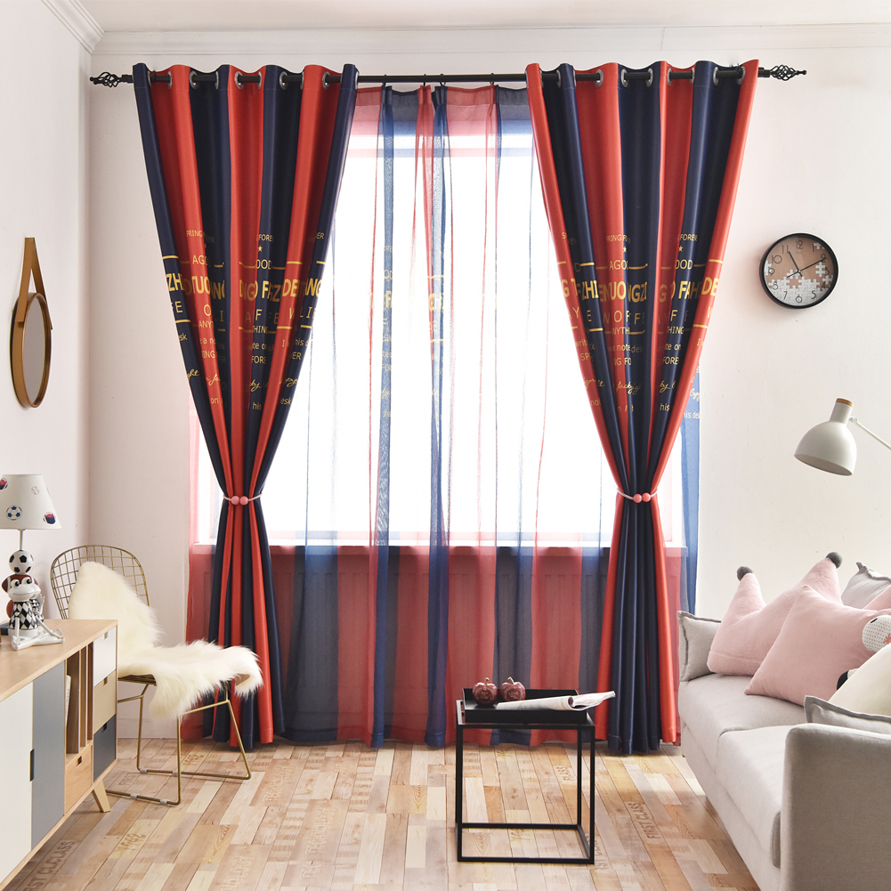 Blackout Curtains Striped Colorful Thermal Insulated Window Treatment Drapes Room Darkening for Living Room Custom Size