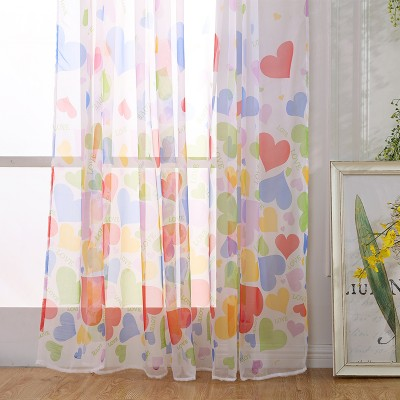 Flower Pattern Window Curtains Heart Shape Sheer For Living Room Bedroom Custom size