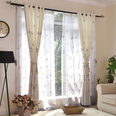 Printing Room Darkening Grommet Top Pastoral Curtains for Living Room