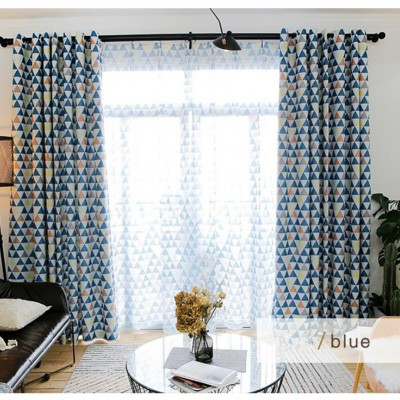 Modern Geometric Decor Curtains Thermal Insulated Grommet Blackout Window Treatment for Patio/Living Room