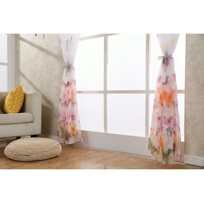 Butterfly Print Sheer Window Panel Curtains Room Divider for Living Room Bedroom 4 colors Custom size