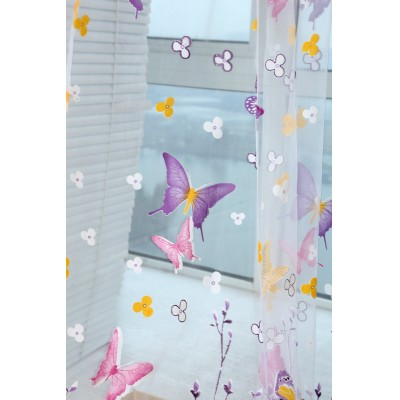 Colorful Butterfly Voile Curtains for Window Screening