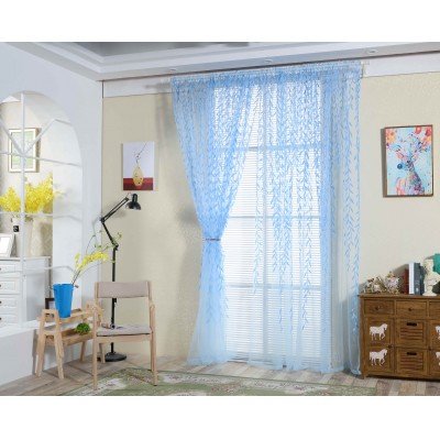 Cute Willow leaf Curtains Blinds Voile Pastoral Style Willow Floral Window Decorative cortinas for bedroom Living Room