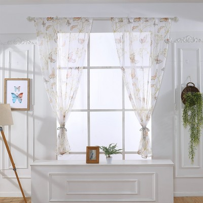 Butterfly Curtain Embroidered Voile for Living Room for Kid Room Sheer Fabric Rustic Cortinas Treatment