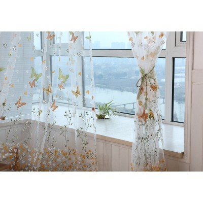 Cute Butterfly Pattern Window Screens Sheer Small Door Window Curtains