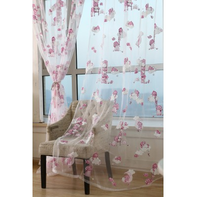 Cute Little Bear Pattern Drape Panel Sheer Scarf  Kid Bedroom Living Room Window Curtains