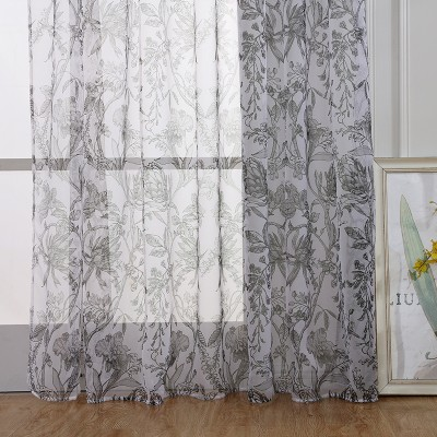 Home Office Window Curtain Flower Print Divider Tulle Voile Drape Panel Sheer Scarf Valances Curtains