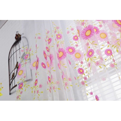 Sheer Voile Flower  Window Tulle Curtains Bedroom Printed drapes