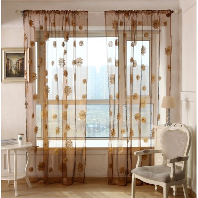 Sunflower Sheer Window  Curtains country Valance  Decoration Curtains